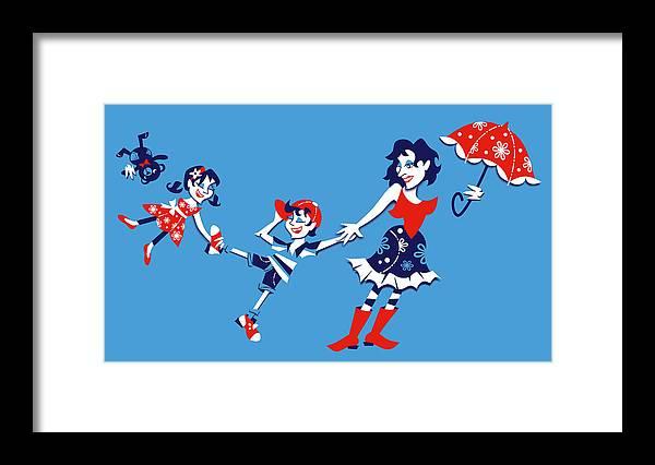 Mary Poppins Framed Print featuring the digital art Mary Poppins - Illustrazione Arte Grafica by Arte Venezia