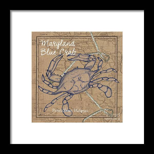 Crab Framed Print featuring the painting Maryland Blue Crab by Debbie DeWitt