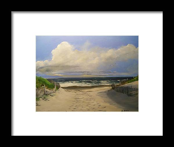 Beac Framed Print featuring the painting Mary's Beach by Ken Ahlering