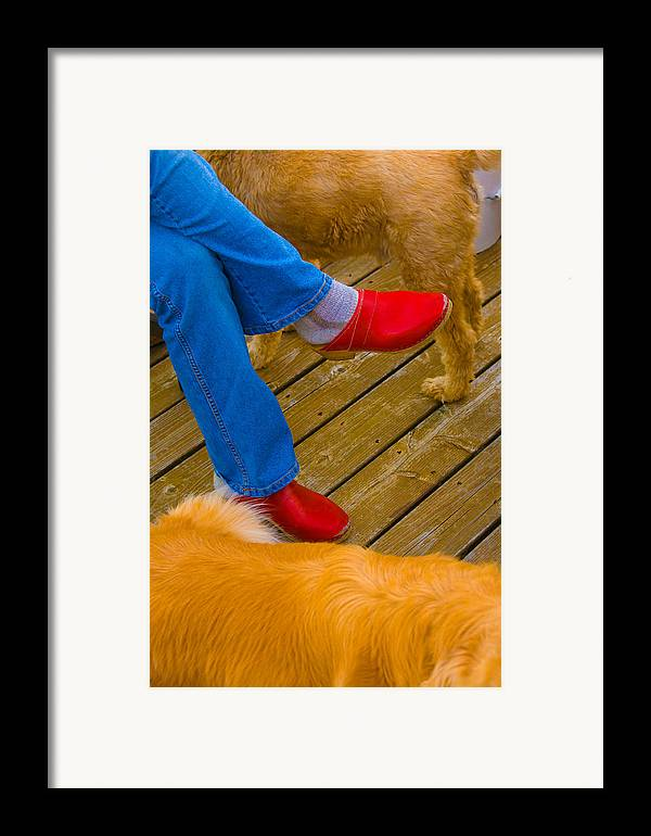 Shoes Framed Print featuring the digital art Marys Red Shoes by John Toxey
