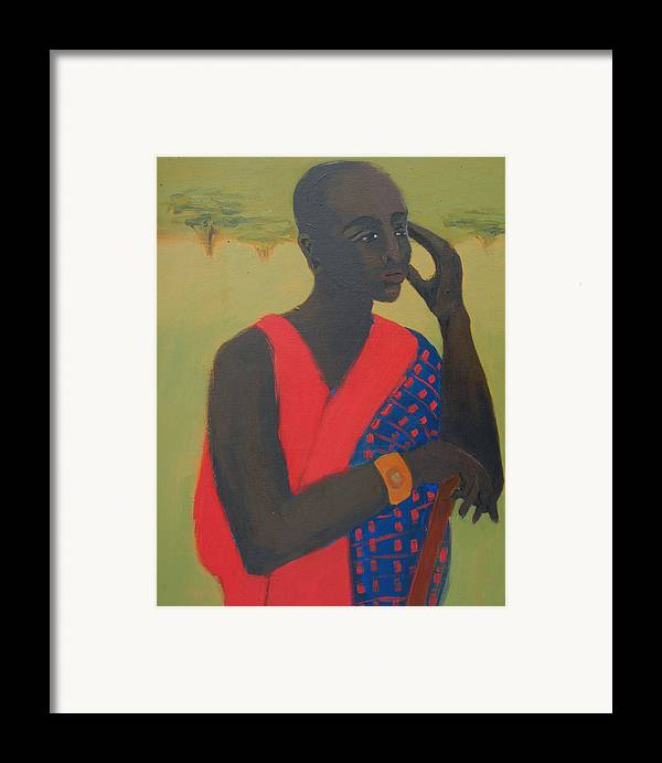 Africa Framed Print featuring the painting Masaii Warrior by Renee Kahn
