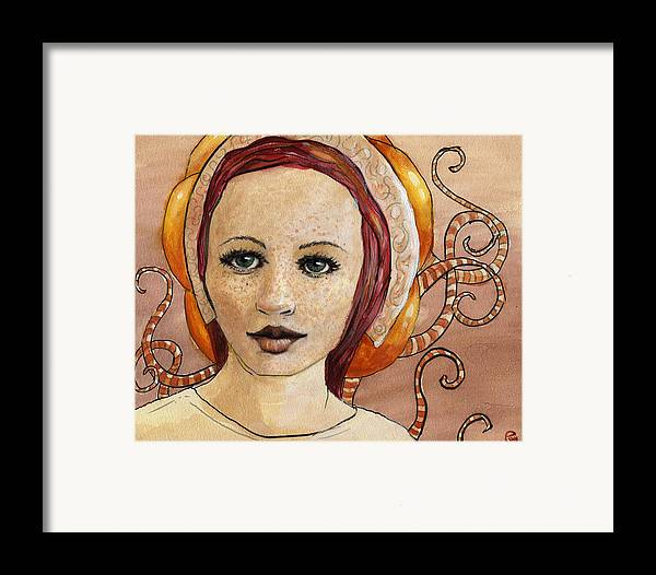 Woman Framed Print featuring the painting Mascara by Ethan Harris