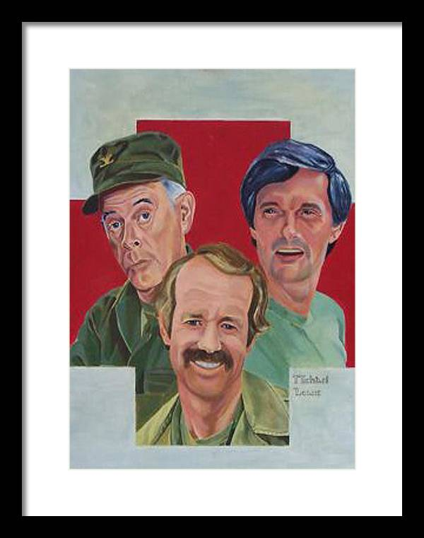 Illustration Framed Print featuring the painting MASH Illustration by Michael Lewis