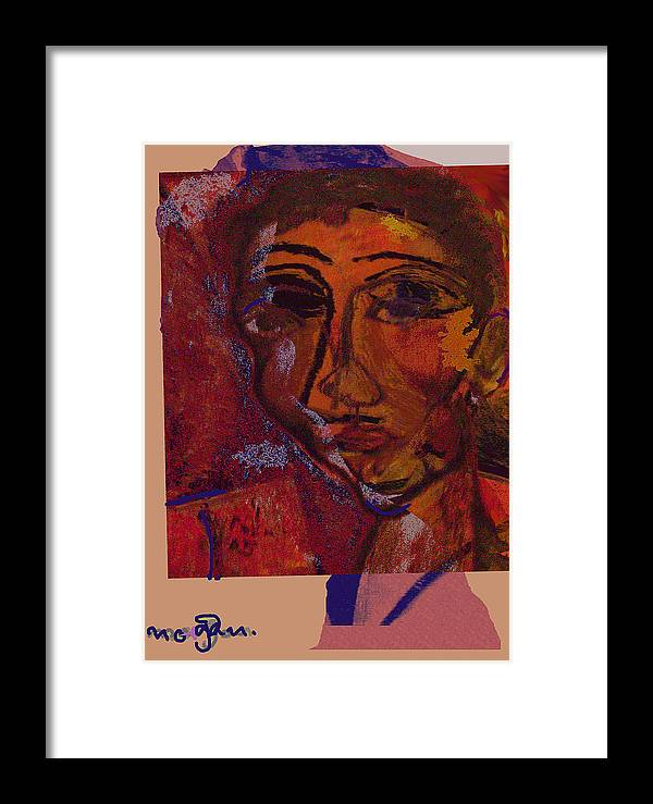 Portrait Framed Print featuring the painting Mask 14 by Noredin Morgan