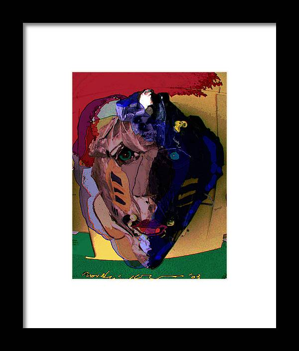 Mask Framed Print featuring the painting Mask 17 by Noredin Morgan
