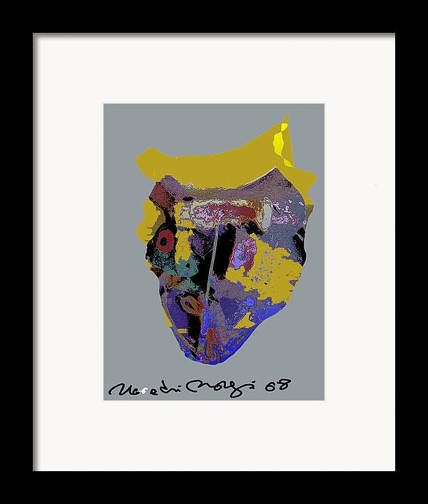 Mask Framed Print featuring the painting Mask 20 by Noredin Morgan