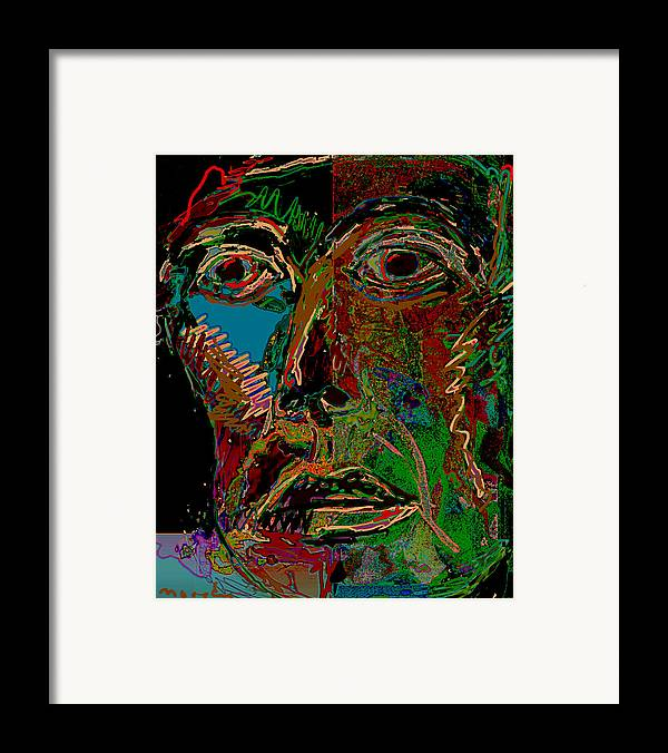 Mask Framed Print featuring the painting Mask 22 by Noredin Morgan