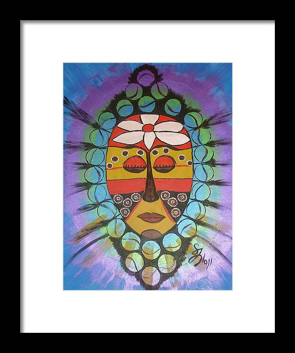 Mask Framed Print featuring the painting Mask III by Sheila J Hall