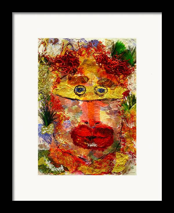 Mask Framed Print featuring the mixed media Mask by Lessandra Grimley