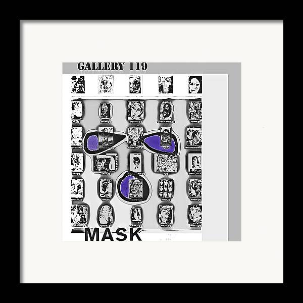 Mask Framed Print featuring the drawing Mask Post Card by Noredin Morgan