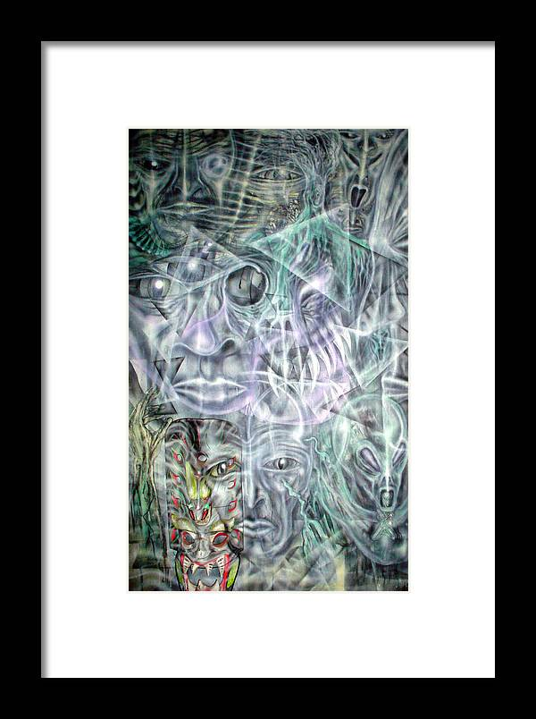 Contemporary Framed Print featuring the painting Mask Unfolding by Leigh Odom
