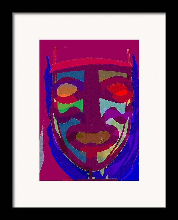 Mask Framed Print featuring the painting Mask8 by Noredin Morgan