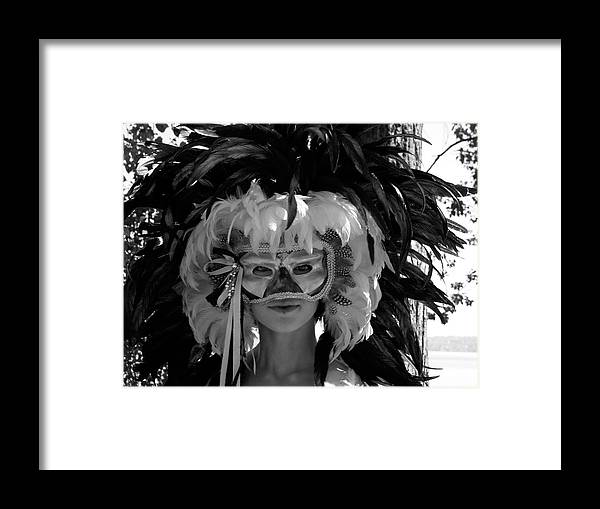 Venetian Mask Framed Print featuring the photograph Masked Woman by Sonja Anderson