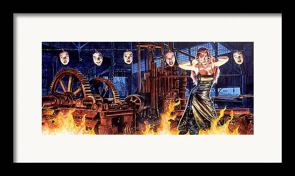 Fantasy Framed Print featuring the painting Masks by Ken Meyer