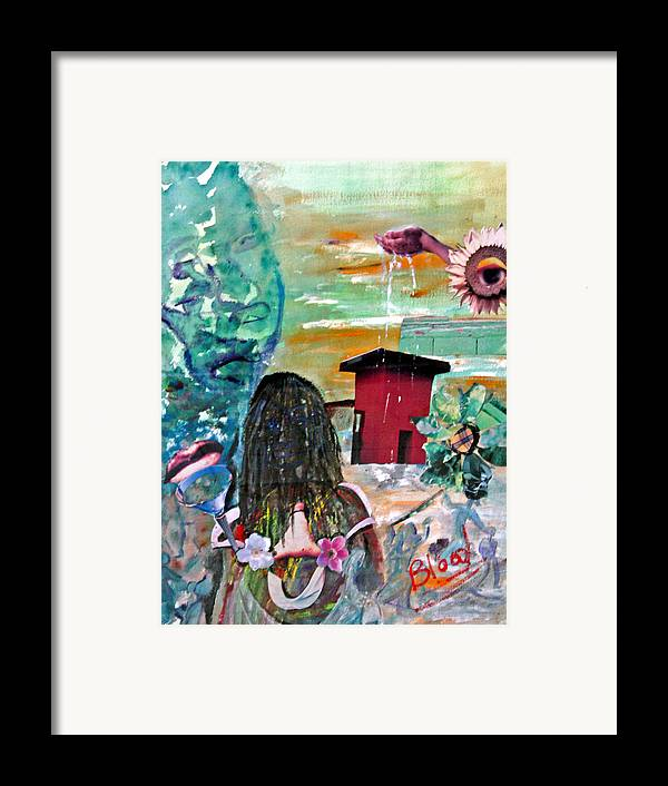 Water Framed Print featuring the painting Masks Of Life by Peggy Blood