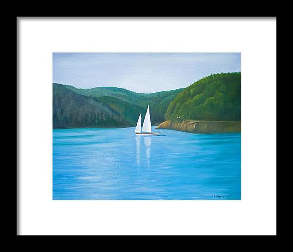 Seascape Framed Print featuring the painting Mason's Sailboat by Stephen Degan