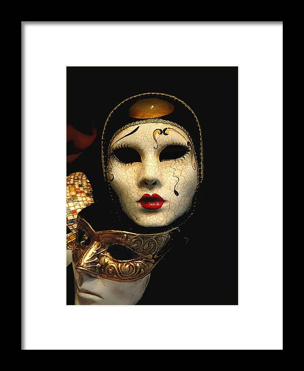 Masques Mask Venice Framed Print featuring the photograph Masques by Jon Daly