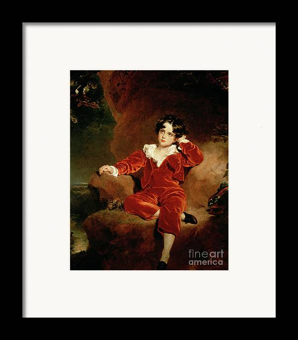 Sir Thomas Lawrence Framed Print featuring the painting Master Charles William Lambton by Sir Thomas Lawrence