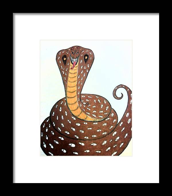 Snake Framed Print featuring the drawing Master by Ericka Ramos