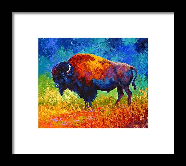 Wildlife Framed Print featuring the painting Master Of His Herd by Marion Rose