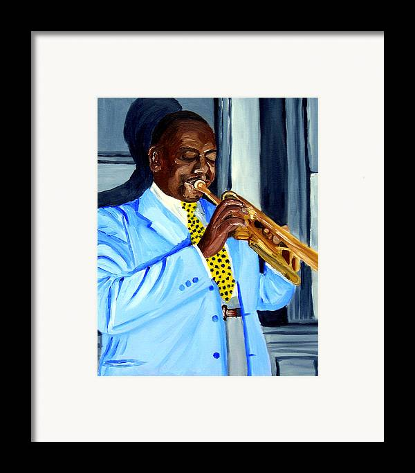 Street Musician Framed Print featuring the painting Master Of Jazz by Michael Lee