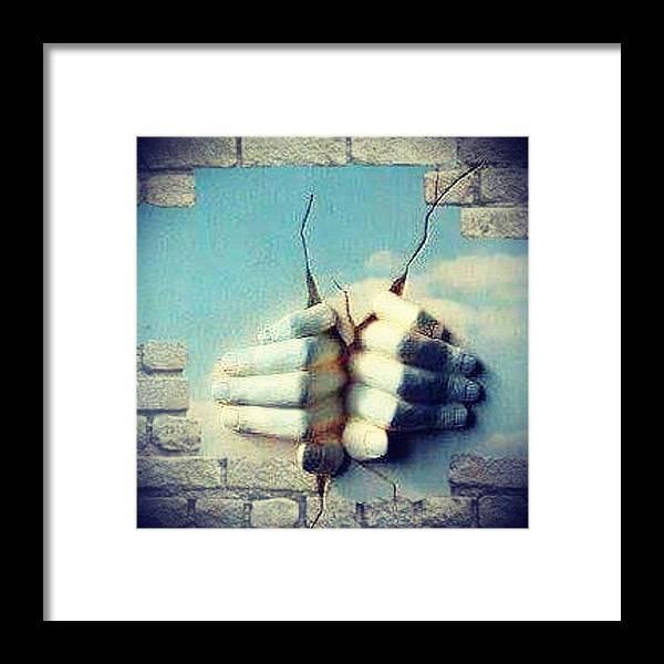 Sculpture Hands Sky Framed Print featuring the digital art Masters Hands by CJ Redbird
