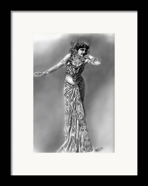 Spy Framed Print featuring the drawing Mata Hari by Carliss Mora