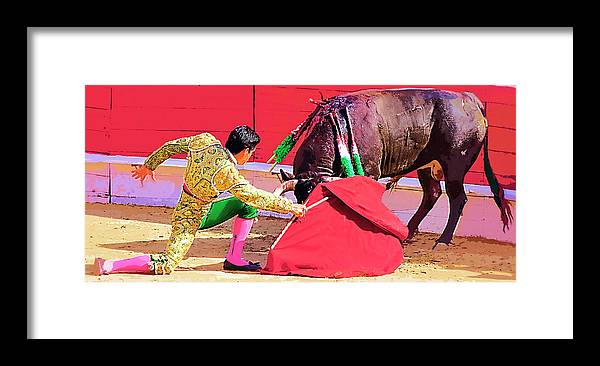 Matador Framed Print featuring the photograph Matador On Knees by Clarence Alford