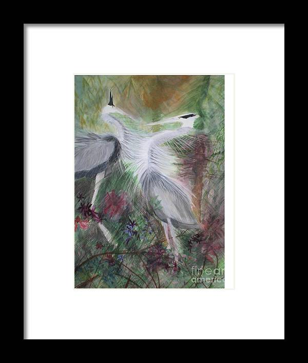 Birds Framed Print featuring the painting Match To Mate by Hal Newhouser