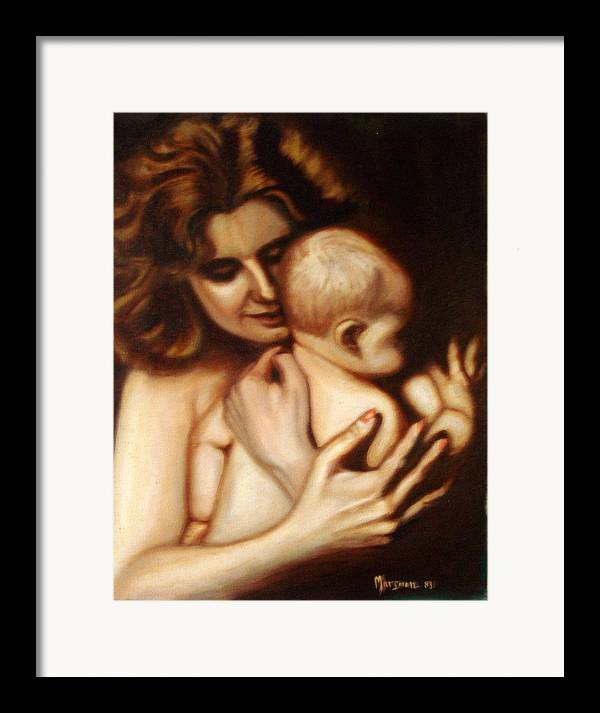 Portrait Framed Print featuring the painting Maternal Love by Lia Marsman