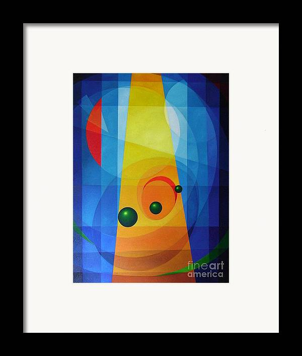 Geometric Abstract Framed Print featuring the painting Maternity by Alberto DAssumpcao