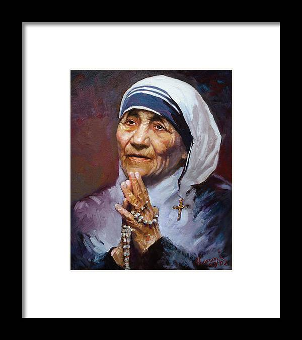 Mother Teresa Artwork Framed Print featuring the painting Mother Teresa by Ylli Haruni
