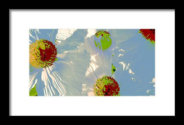 Floral Abstract Framed Print featuring the photograph Matilija Poppies Pop Art by Ben and Raisa Gertsberg