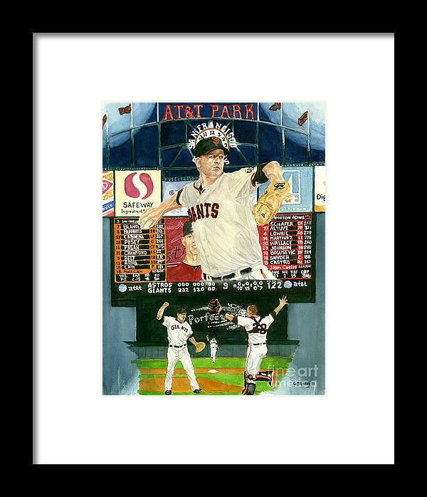 Matt Cain Framed Print featuring the painting Matt Cain Perfect Night by George Brooks