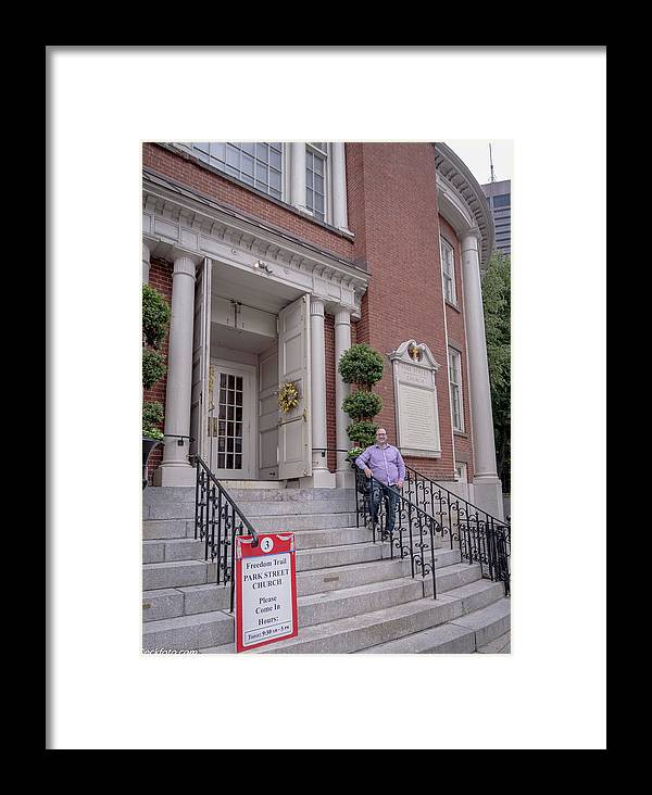 Park Street Church Framed Print featuring the photograph Matt V. Group At The Park Street Church In Boston, Massachusetts On August 26, 2016 by Jean-Louis Eck