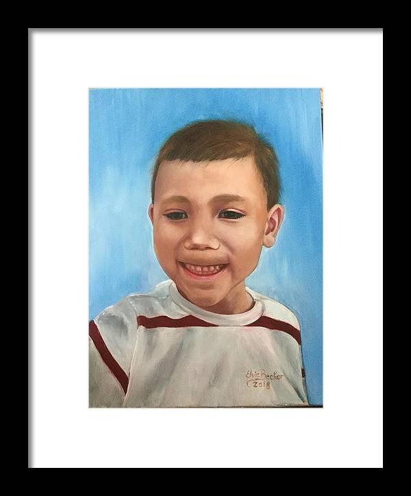 Boy Framed Print featuring the painting Matthew by Elvie Becker