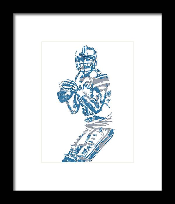 Matthew Stafford Framed Print featuring the mixed media Matthew Stafford Detroit Lions Pixel Art 6 by Joe Hamilton