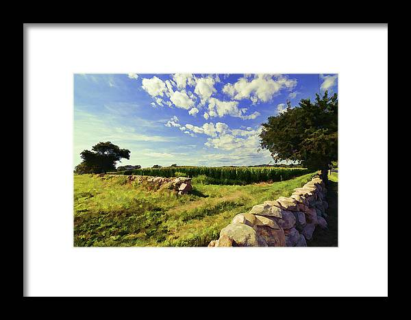 Stone Wall Framed Print featuring the photograph Matunuck Corn Fields by Melissa Hicks