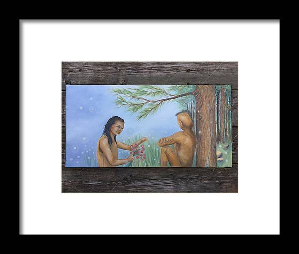 Uncle Framed Print featuring the painting Mature Flowers Met Her Uncle by Owisokon Lahache