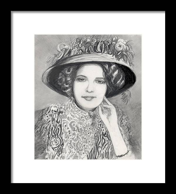 Maud Victorian Dressed Up Smile Woman Framed Print featuring the print Maud - In Her Finery by Carliss Mora
