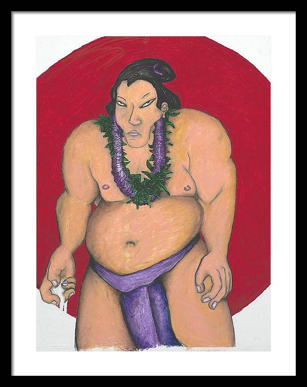 Sumo Framed Print featuring the painting Maui Sumo by Billy Knows
