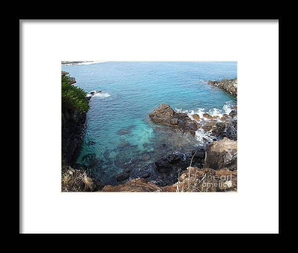 Hawaii Framed Print featuring the photograph Maui Water And Rocks by Krista Kulas