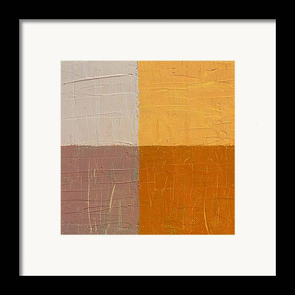 Abstract Framed Print featuring the painting Mauve And Peach by Michelle Calkins