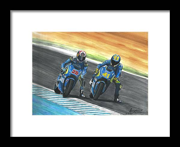 Watercolour Motogp Motorbike Biker Artist Ilustration 41 25 Moto Sports Fanart Ride Rider Motorcycles Jerez Spain Circuito Velocidad Velocity Framed Print featuring the painting Maverick Y Aleix Full Brake by Adrian Lopez Lozano
