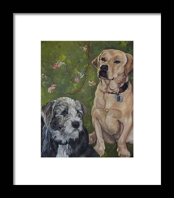 Dogs Framed Print featuring the painting Max And Molly by Stephanie Broker