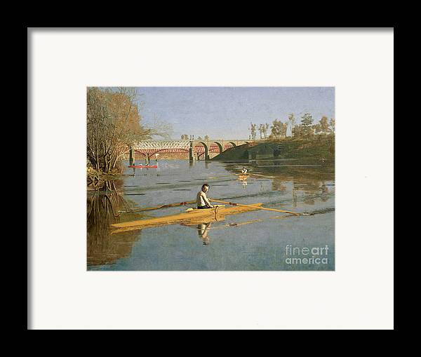Max Framed Print featuring the painting Max Schmitt In A Single Scull by Thomas Cowperthwait Eakins