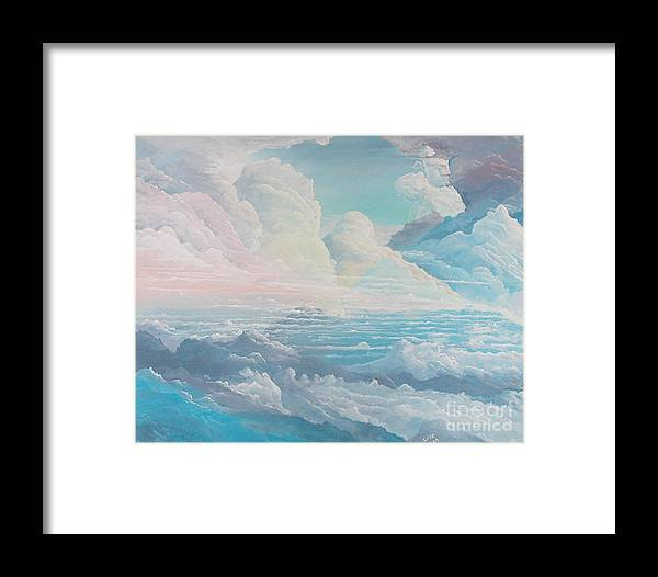 Cloudscape Framed Print featuring the painting May Colored Clouds by John Wise