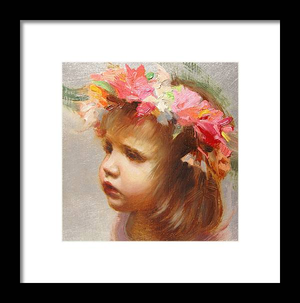 Oil On Silver Framed Print featuring the painting May Flowers by Anna Rose Bain