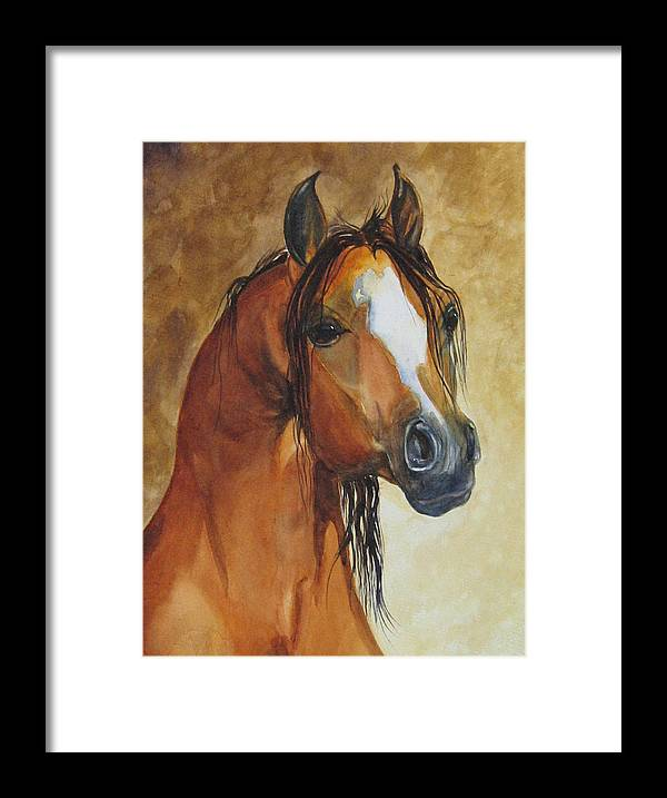 Eqine Framed Print featuring the painting May I Have One Too Please by Gina Hall