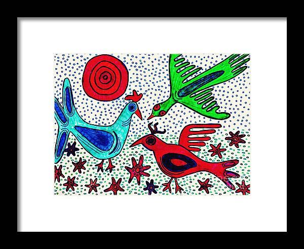 Bird Framed Print featuring the drawing Mayan Birds by Sarah Loft